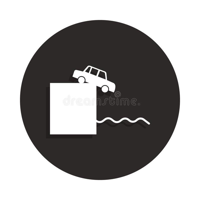 Rush in the car with a cliff of suicide icon in badge style. One of Death collection icon can be used for UI, UX. On white background royalty free stock photo
