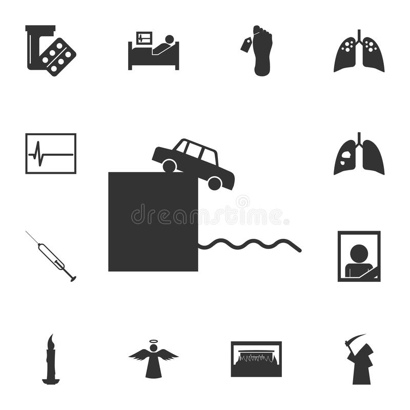 Rush in the car with a cliff of suicide icon. Detailed set of death icons. Premium quality graphic design. One of the collection i. Cons for websites, web design stock photos