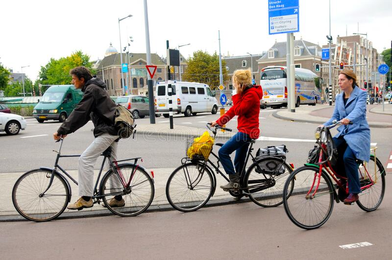 Rush Hour, Bikes in the City, Europe Outdoor Lifestyle, Amsterdam royalty free stock images