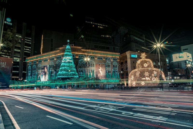 Rush hour outside Myeongdong`s City Hall stock image