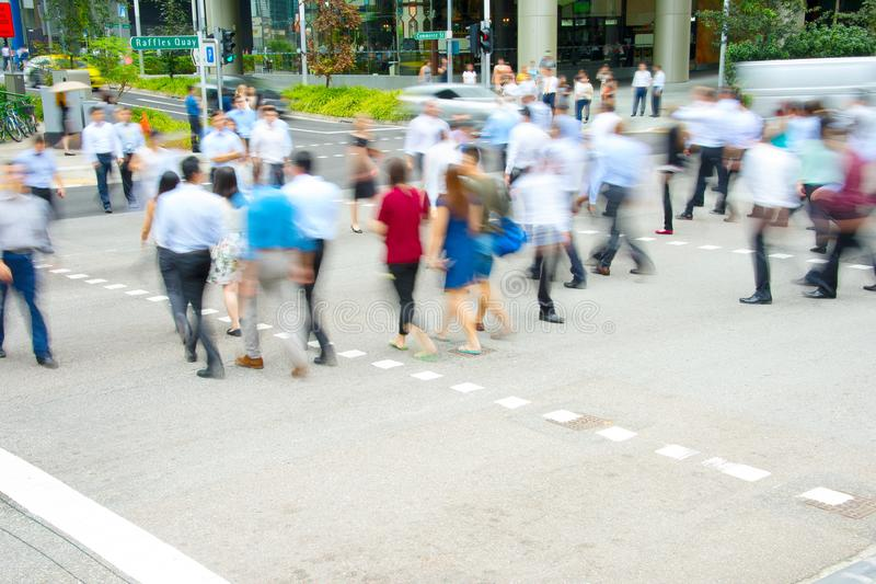 Rush hour, people at crosswalk royalty free stock photography