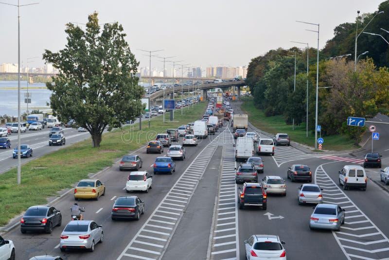 Rush hour. In the city. Kyiv. Ukraine royalty free stock photo