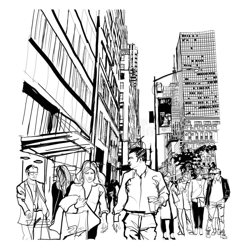 Rush hour on 5th avenue in Manhattan. Vector illustration royalty free illustration