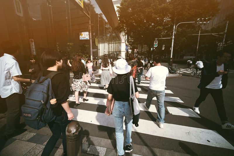 Rush hour in Tokyo royalty free stock photos