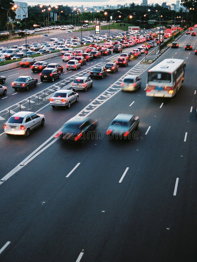 Rush Hour Traffic. Traffic jam at rush hour in S㯠Paulo, Brazil stock photo