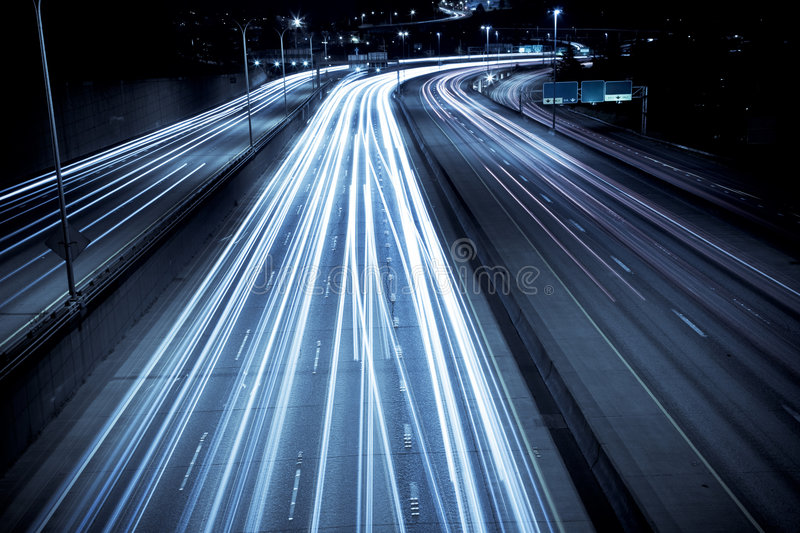Rush hour traffic. A time exposure shot of rush hour traffic stock photography