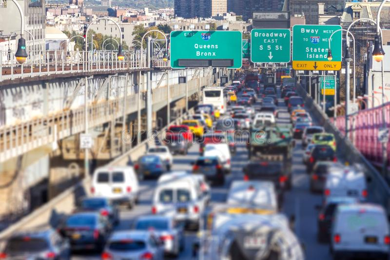 Rush hour traffic jam in New York City stock images