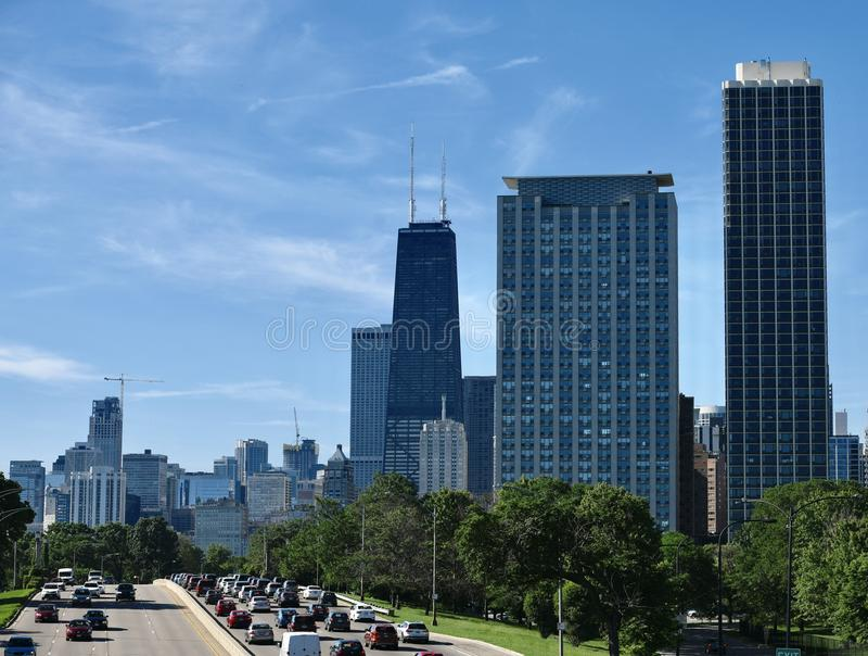 Rush Hour Traffic on Lakeshore Drive royalty free stock photography