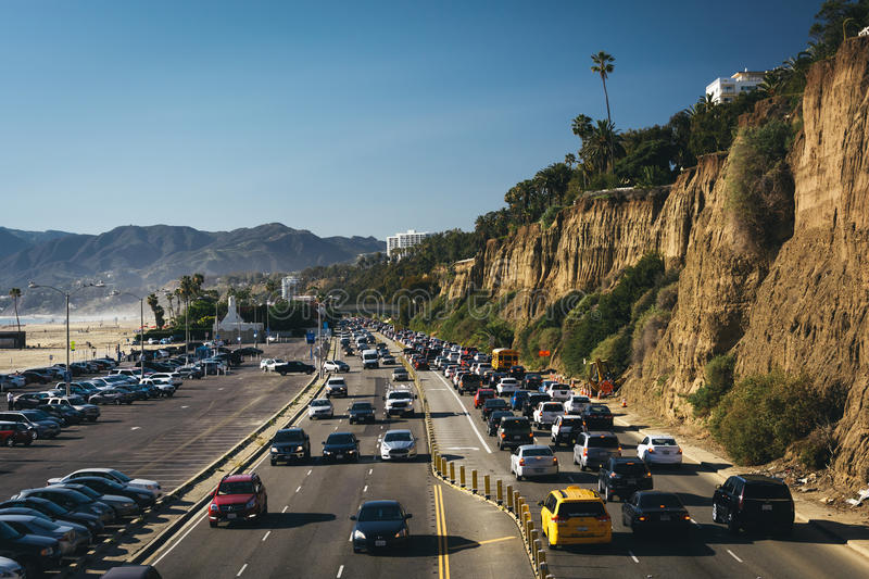 Rush hour traffic on Pacific Coast Highway royalty free stock photos