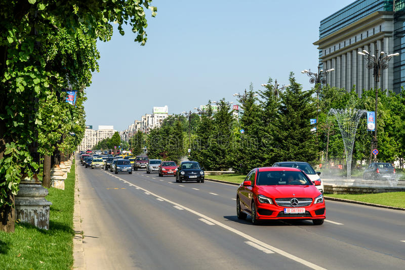 Rush Hour Traffic In Union Square Piata Unirii In Bucharest. BUCHAREST, ROMANIA - MAY 19, 2015: Rush Hour Traffic In Union Square Piata Unirii one of the busiest stock images