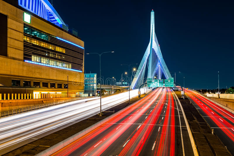 Rush hour traffic on Zakim bridge royalty free stock photography