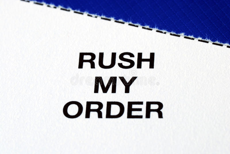 """Download """"Rush My Order"""" From A Business Reply Postcard Stock Photo - Image: 12183276"""