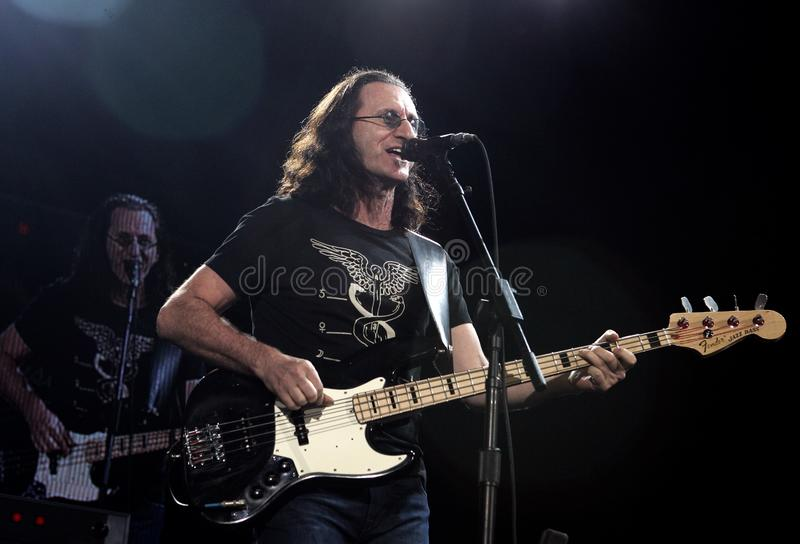 Rush performs in concert. Geddy Lee with Rush performs in concert at the Sound Advice Amphitheatre in West Palm Beach Florida on June 15, 2007 royalty free stock photos