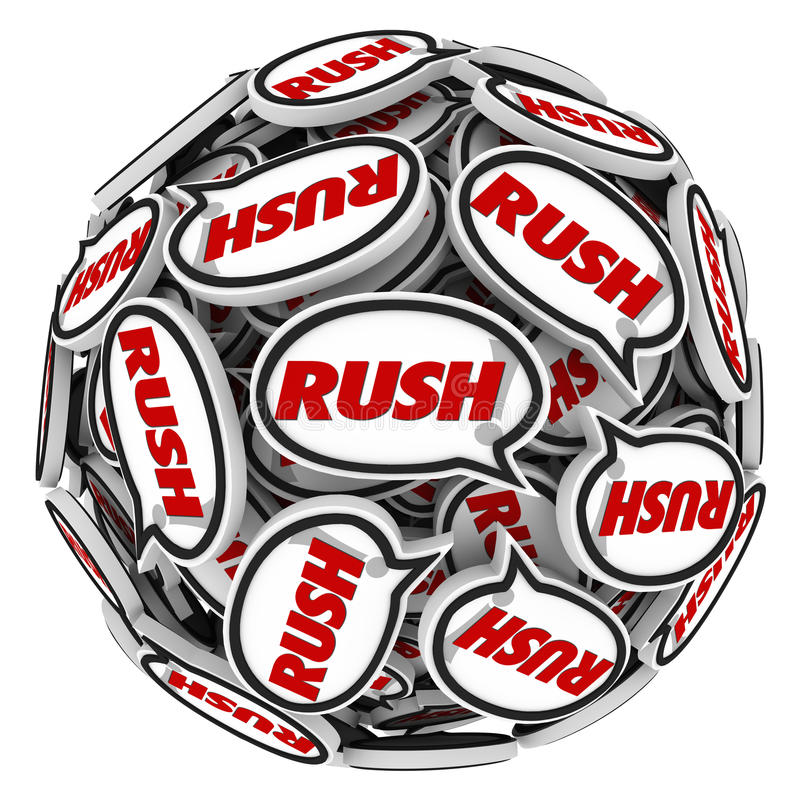 Free Rush Word Speech Bubbles Ball Fast Action Urgency Deadline Royalty Free Stock Image - 41851906