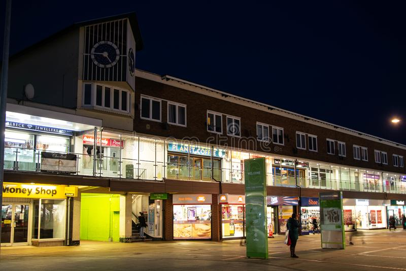 Rushden, Northamptonshire, United Kingdom - 15 November 2019 - Corby shopping centre night street view. Town centre in Northampton. Shire, architecture, building stock photos