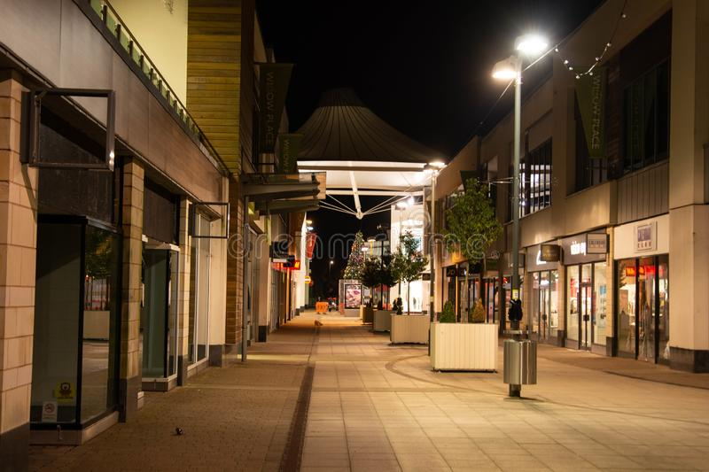 Rushden, Northamptonshire, United Kingdom - 15 November 2019 - Corby shopping centre night street view. Town centre in Northampton. Shire, architecture, building stock photography