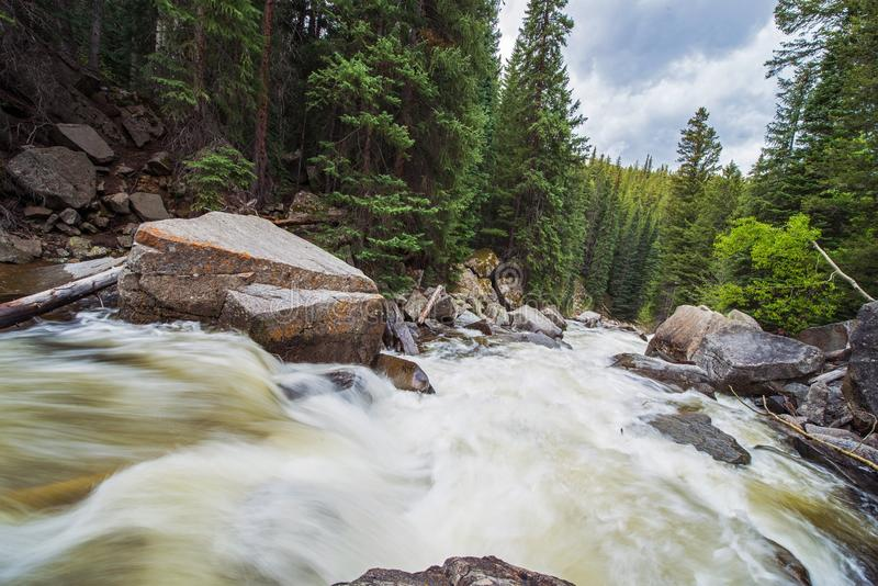 Rushing Mountain River. Colorado Wilderness River. Aspen, United States. Roaring Fork River royalty free stock photography