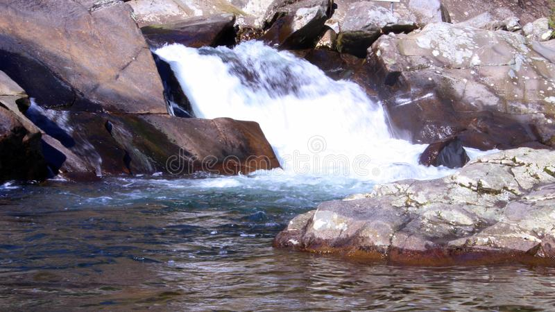 Rushing Rapids of a Large River in the Smokey Mountains. Rushing Rapids of a Large River Deep in the Smokey Mountains stock photography