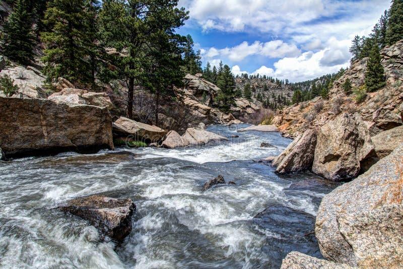 Rushing stream river water through Eleven Mile Canyon Colorado stock photos
