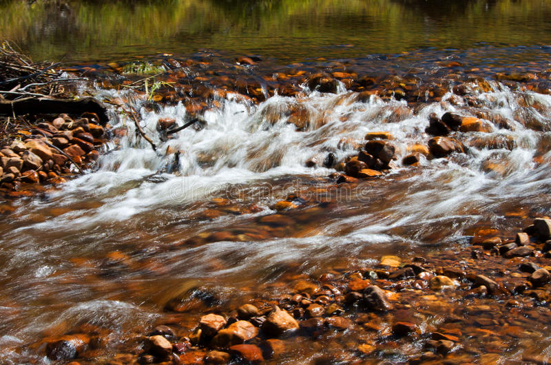Rushing water. Rushing mountain stream cascading over rocks royalty free stock images