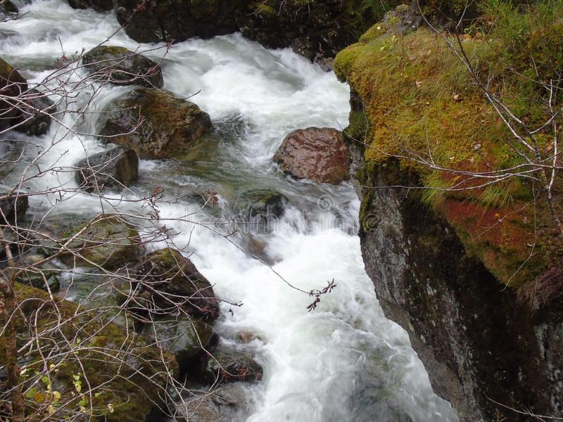 Rushing waters of the River Coe stock image