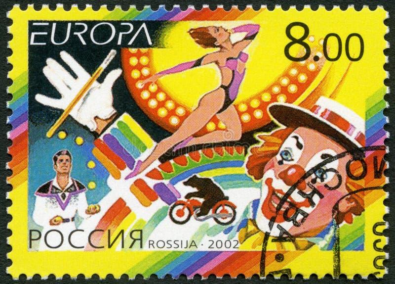 RUSIA - 2002: circo de las demostraciones, serie del Europa foto de archivo