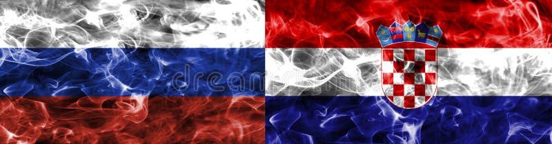 Rusia contra la bandera del humo de Croacia, finales cuartos, mundial 2018, Moscú, Rusia del fútbol fotos de archivo libres de regalías