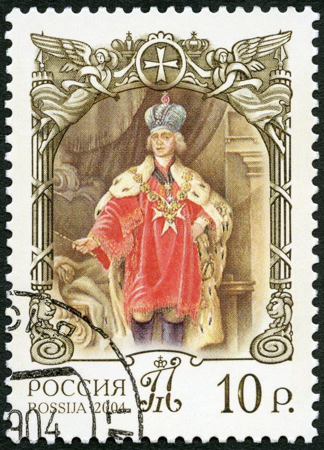 RUSIA - 2004: demostraciones Paulo I 1754-1801, el gran maestro de la orden maltesa, serie de la historia del estado ruso imagen de archivo libre de regalías
