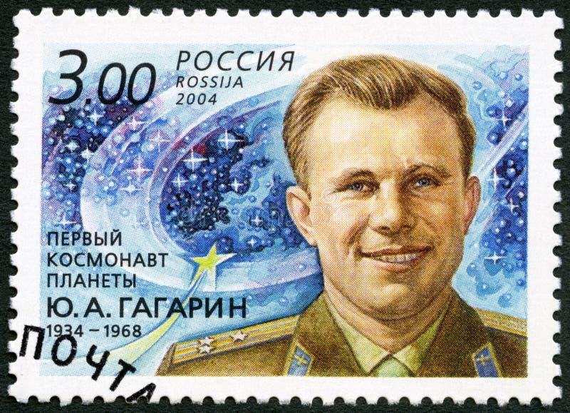 RUSIA - 2004: demostraciones Yuri A Gagarin 1934-1968, piloto y cosmonauta, primer astronauta fotos de archivo libres de regalías