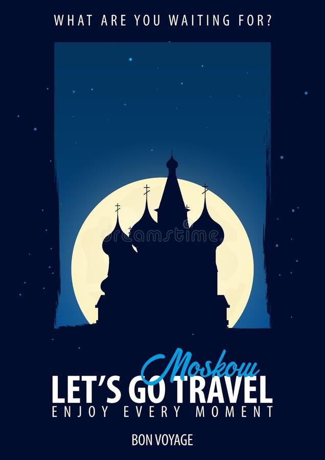 Rusia Hora de viajar Viaje, viaje, vacaciones Fondo de la luna Bon Voyage stock de ilustración