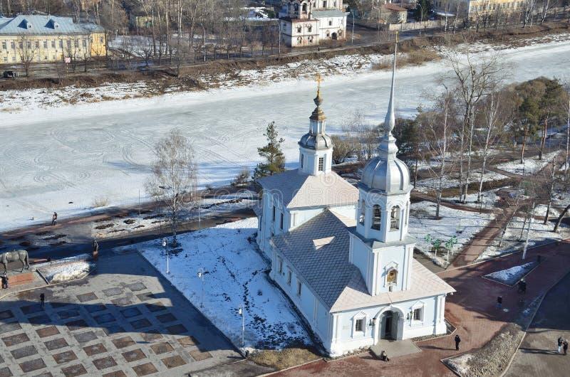 Rusia, la iglesia de Alexander Nevsky en el cuadrado de Kremlevskaya en Vologda fotografía de archivo libre de regalías