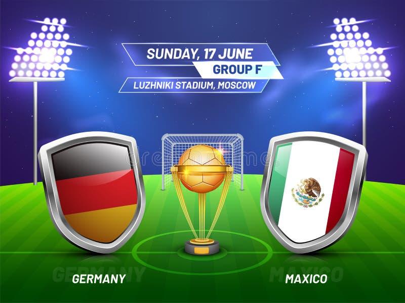 Rusia 2018, liga del campeonato del fútbol, partido entre Alemania v ilustración del vector