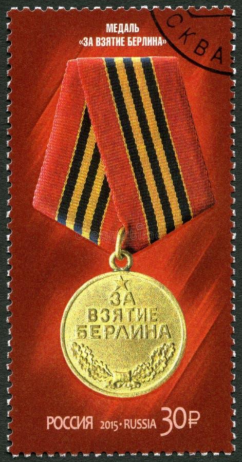 RUSIA - 2015: medalla de las demostraciones para la captura de Berl?n, serie el 70.o aniversario de la victoria en la gran guerra fotografía de archivo libre de regalías