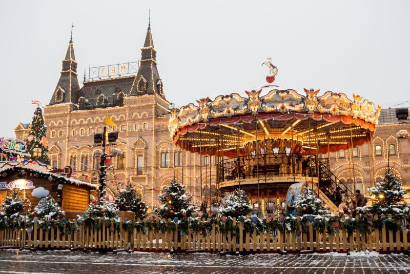 Rusia, Moscú, mercado de la Navidad en Plaza Roja fotografía de archivo