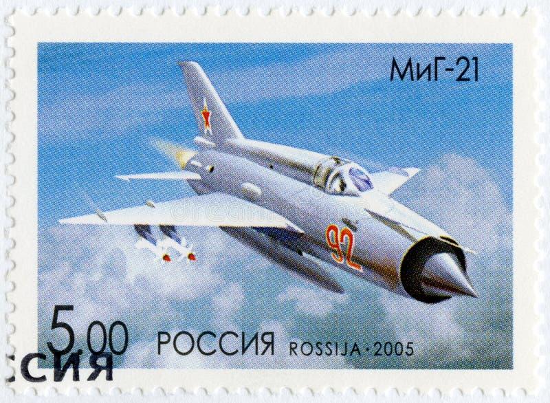 RUSIA - 2005: muestra el Mikoyan-Gurevich MiG-21, aviones de la serie OKB por A I Mikoyan, el diseñador de los aviones foto de archivo
