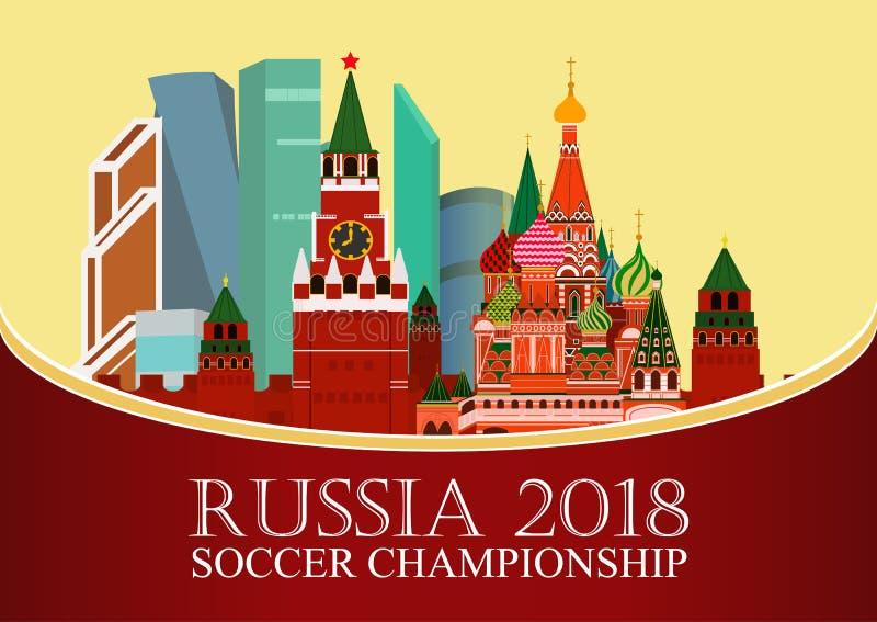 Rusia 2018 mundiales Bandera del fútbol Ejemplo plano del vector Deporte Imagen del Kremlin, ciudad de Moscú del centro de negoci stock de ilustración