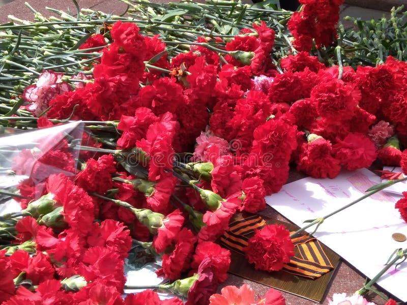 Rusia, Novosibirsk, puede 9, 2018: un ramo grande de claveles rojos miente en un lugar conmemorativo en el pedestal de la tumba d imagen de archivo libre de regalías