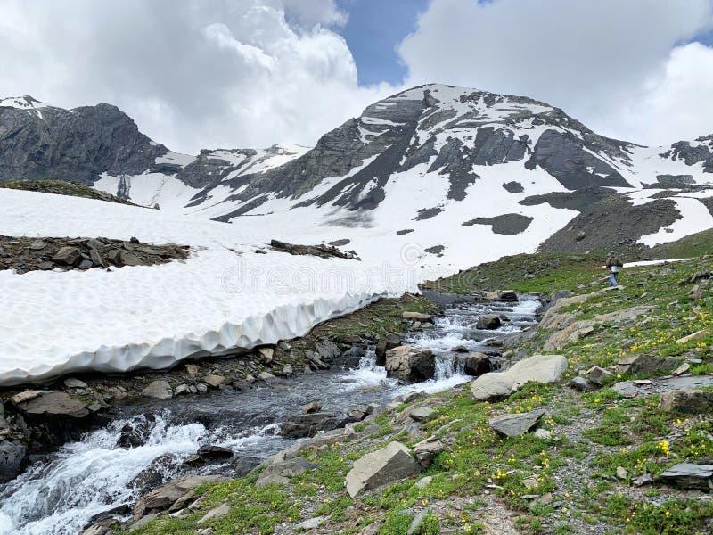 Rusia, Ossetia del norte cabeceras del río Zrug en verano en día nublado foto de archivo libre de regalías