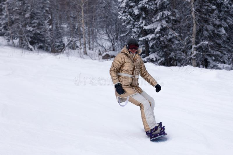 Rusia, Sheregesh 2018 11 Snowboarder de la mujer profesional 18 en g imagen de archivo