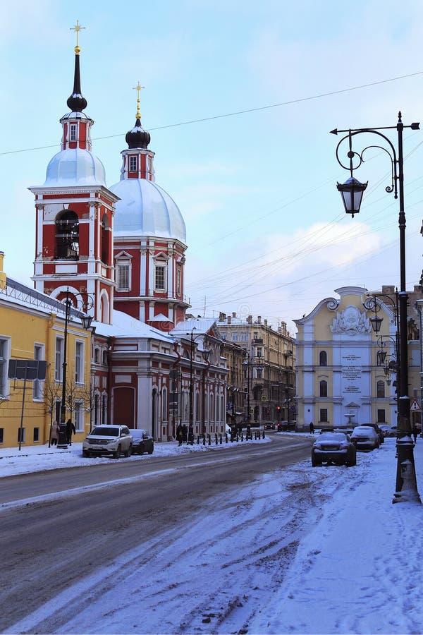RUSIA, ST PETERSBURG - FEBRERO, 04, 2018: Panteleimon Church en la calle de Pestel fotos de archivo libres de regalías
