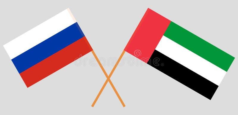 Rusia y United Arab Emirates Las banderas rusas y de los UAE Colores oficiales Proporción correcta Vector libre illustration