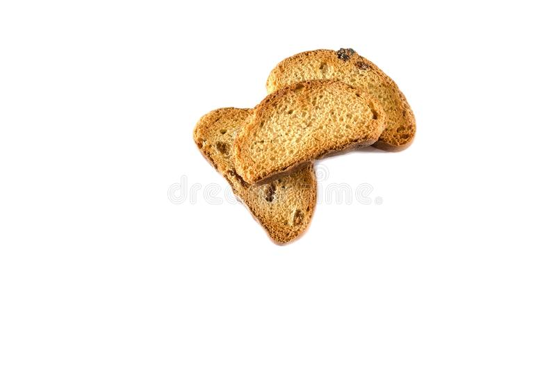 Rusks with raisins in on white background stock photography