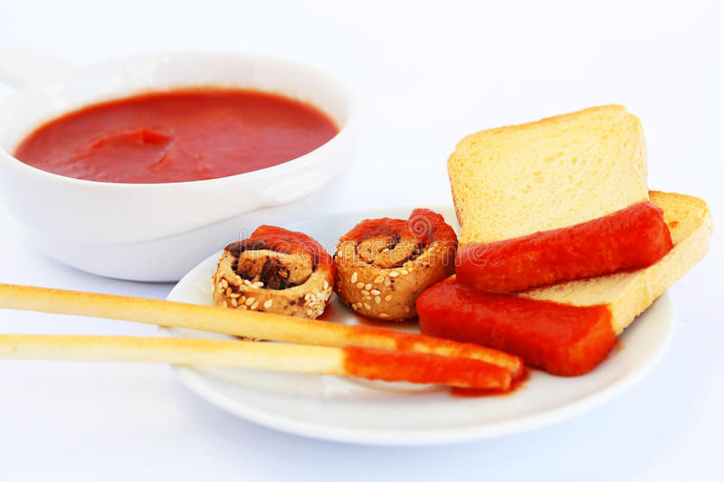 Rusks With Sesame Seeds, Bread Sticks And Sauce Stock Images