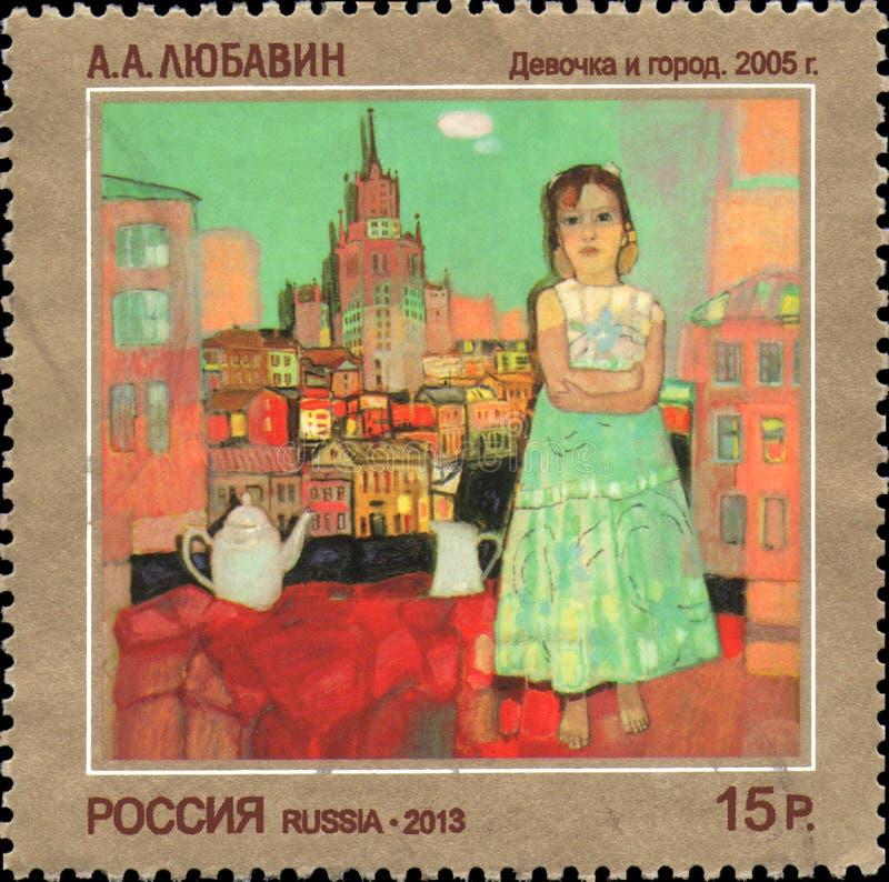 RUSLAND - CIRCA 2013: De zegel die in Rusland wordt gedrukt wijdde eigentijds Art Russia, A A Lyubavin Meisje en stad stock foto