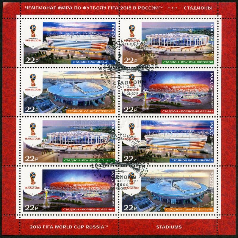 RUSLAND - CIRCA 2017: toont stadions in Kaliningrad, Nizhny Novgorod, St. Petersburg en Saransk, reeksstadions royalty-vrije stock foto's