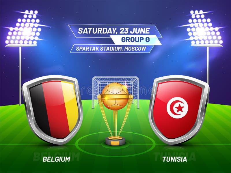 Rusland 2018, de liga van het voetbalkampioenschap, gelijke tussen België v royalty-vrije illustratie