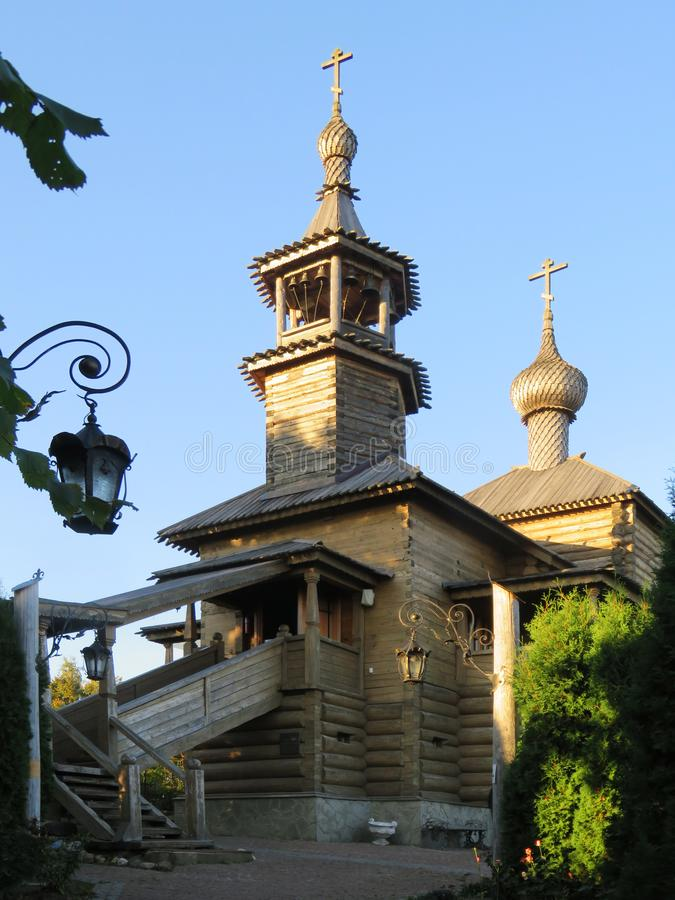 Rusland De provinciale stad van Borovsk Houten Kerk in Borovsk stock foto
