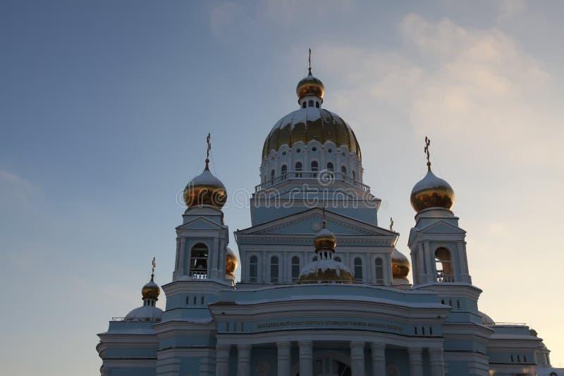 Rusland De republiek van Mordovië, Kathedraal van St Theodore Ushakov in Saransk royalty-vrije stock foto's