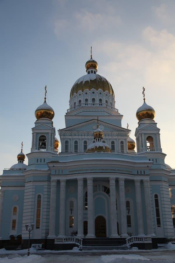 Rusland De republiek van Mordovië, Kathedraal van St Theodore Ushakov in Saransk stock afbeeldingen