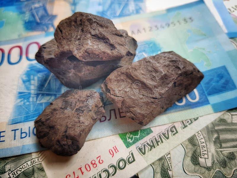 Rusland heeft het belangrijkste inkomen van de verkoop van wereldwijd uitgevoerde steenkool stock afbeelding